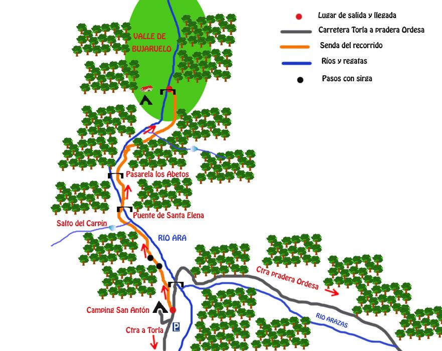 mapa ruta puente de los navarros ordesa