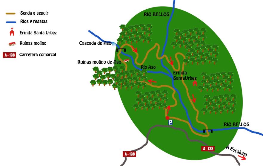 mapa ruta ermita de santa urbez