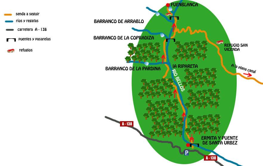 mapa ruta cascada de la fuenblanca