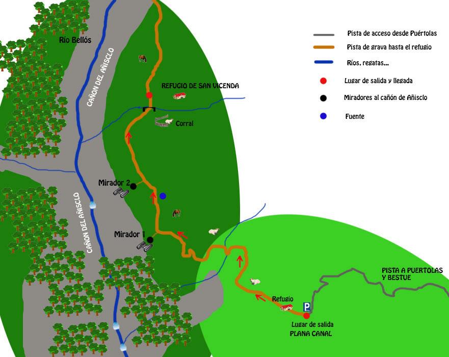 mapa ruta añisclo superior