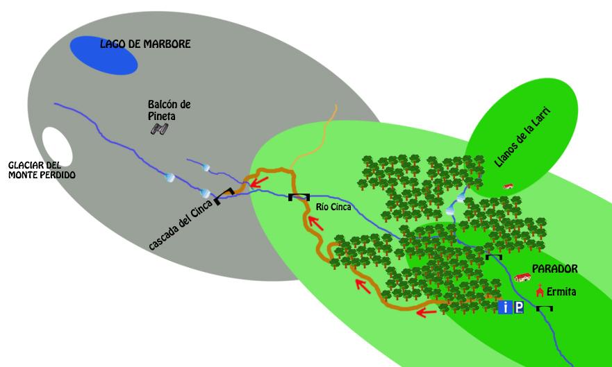 mapa ruta cascada del cinca