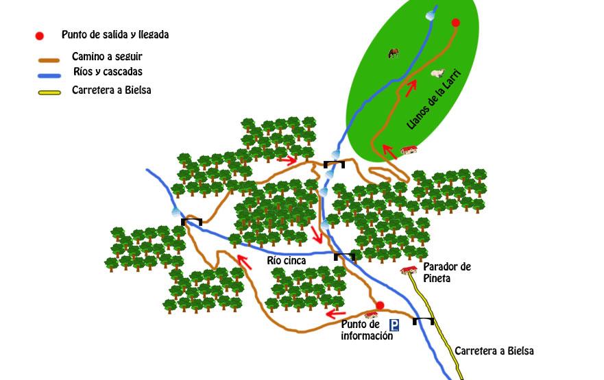 mapa ruta llanos de la larri