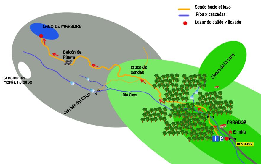 mapa ruta lago de marbore