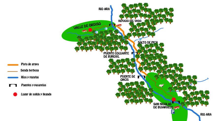 mapa ruta valle de ordiso