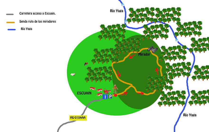 mapa ruta miradores de escuain