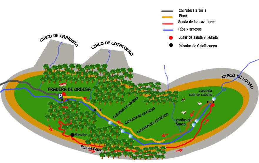 mapa ruta senda de los cazadores